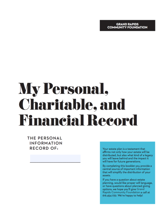 My Personal, Charitable and Financial Record